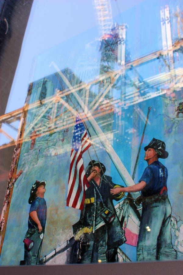 strażacy mlejący pomnik zero obraz royalty free
