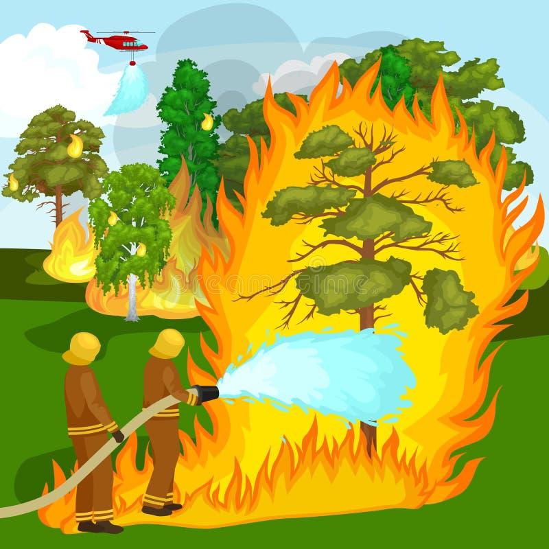 Strażacy w ochronnej odzieży i hełmie z helikopterem gaszą z wodą od węża elastycznego niebezpiecznego pożaru człowieku ilustracja wektor