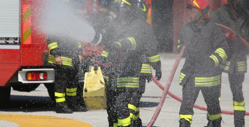 Strażacy z pożarniczym gasidłem podczas praktyki sessio fotografia royalty free