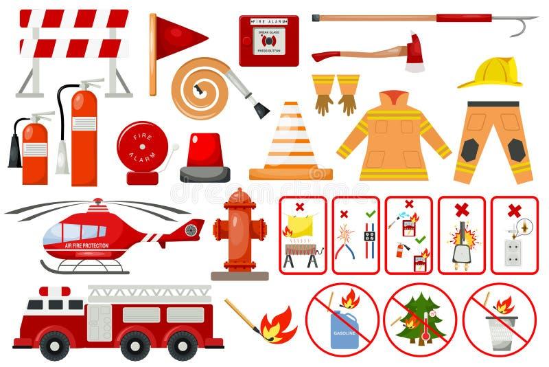 Strażaków elementów pożarniczego działu przeciwawaryjnego miasta niebezpieczeństwa wyposażenia palacza ochrony wektoru zbawcza il royalty ilustracja