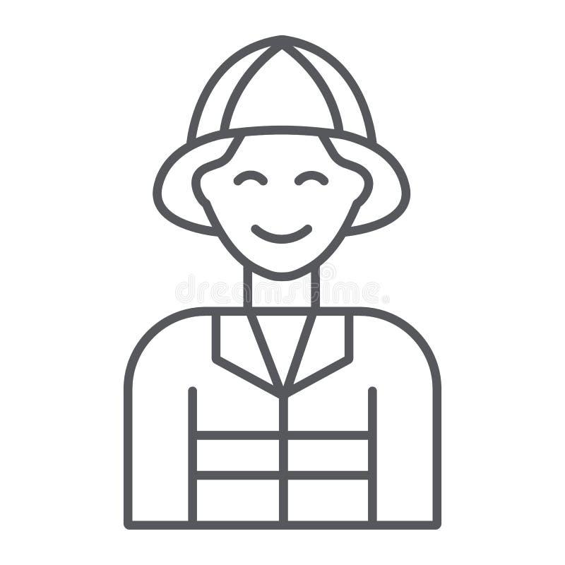Strażak cienka kreskowa ikona, ogień i osoba, palacza znak, wektorowe grafika, liniowy wzór na białym tle ilustracji