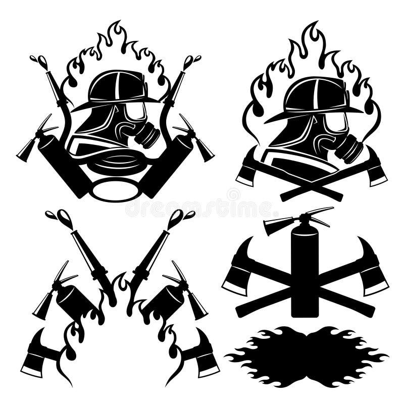 Strażak ikony ustawiać ilustracji