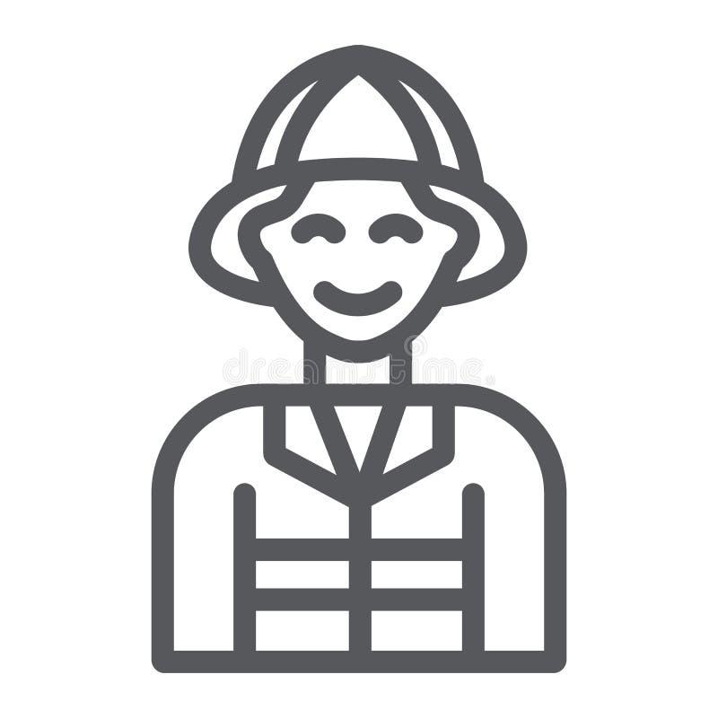 Strażak kreskowa ikona, ogień i osoba, palacza znak, wektorowe grafika, liniowy wzór na białym tle ilustracji