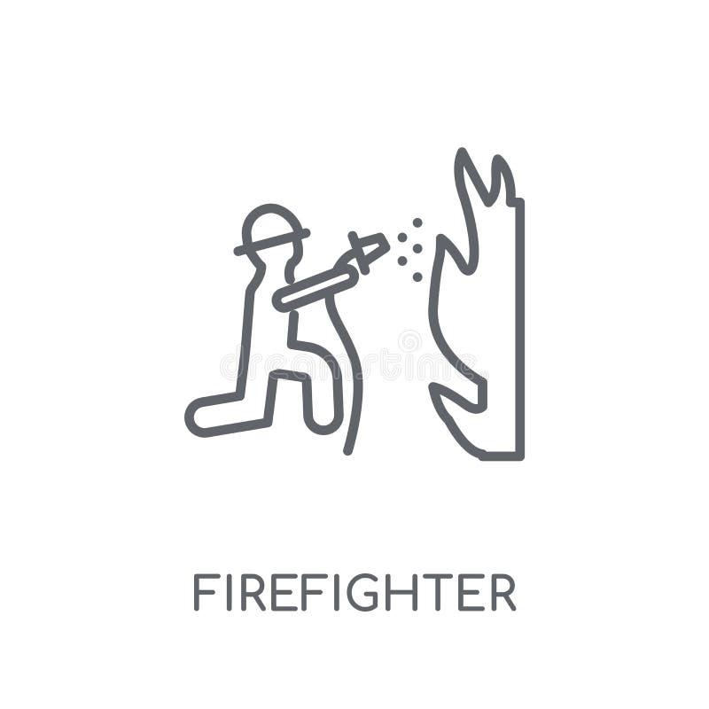 Strażak liniowa ikona Nowożytny konturu strażaka logo pojęcie royalty ilustracja