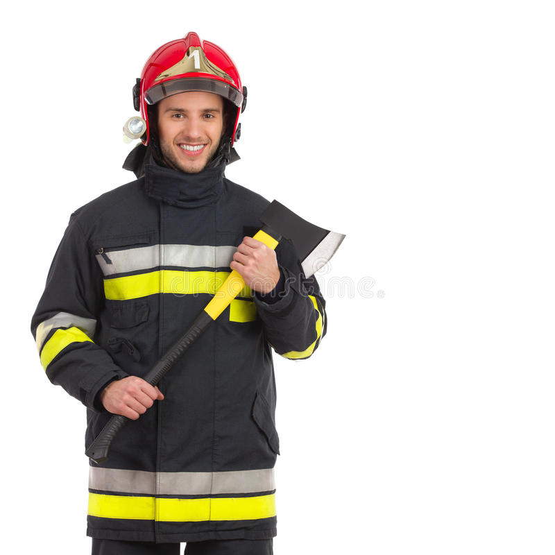 Strażak pozuje z cioską, Frontowy widok. fotografia stock