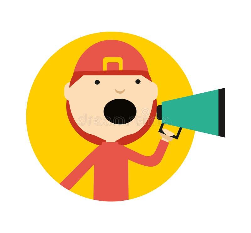 Strażak w mundurze z megafon ikoną royalty ilustracja