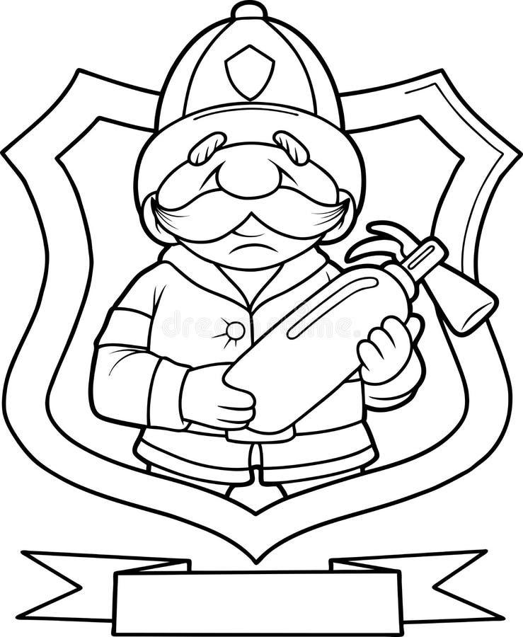 Strażak z pożarniczym gasidłem ilustracja wektor