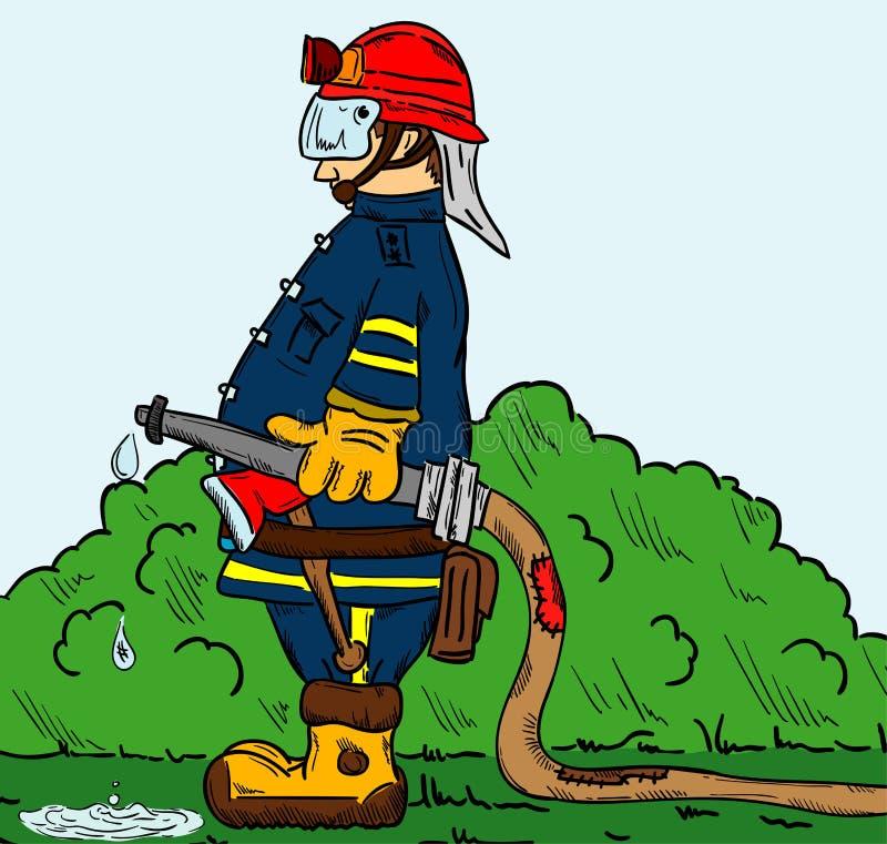 Strażak z wężem elastycznym ilustracji