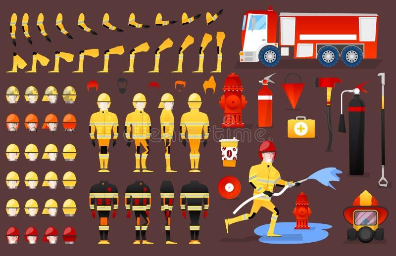 Strażaka charakteru tworzenia konstruktor mężczyzna w różnych pozach Męska osoba z twarzami, ręki, nogi, fryzury royalty ilustracja