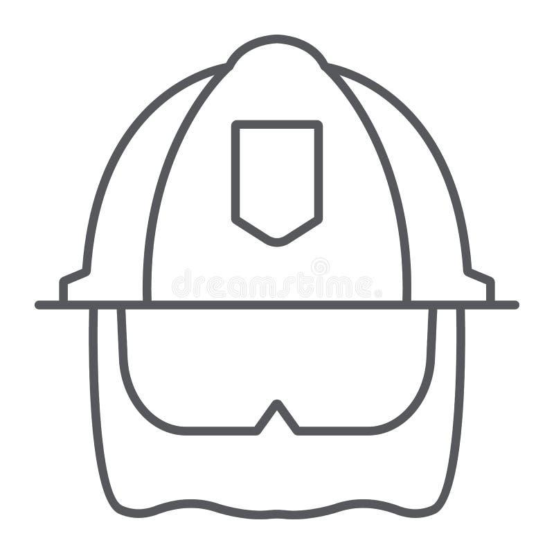 Strażaka hełma cienka kreskowa ikona, wyposażenie i ogień, kierowniczej ochrony znak, wektorowe grafika, liniowy wzór na a ilustracji