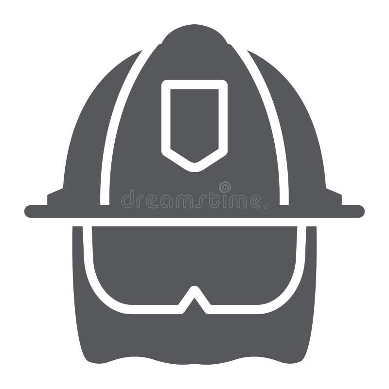Strażaka hełma glifu ikona, wyposażenie i ogień, kierowniczej ochrony znak, wektorowe grafika, bryła wzór na bielu ilustracja wektor