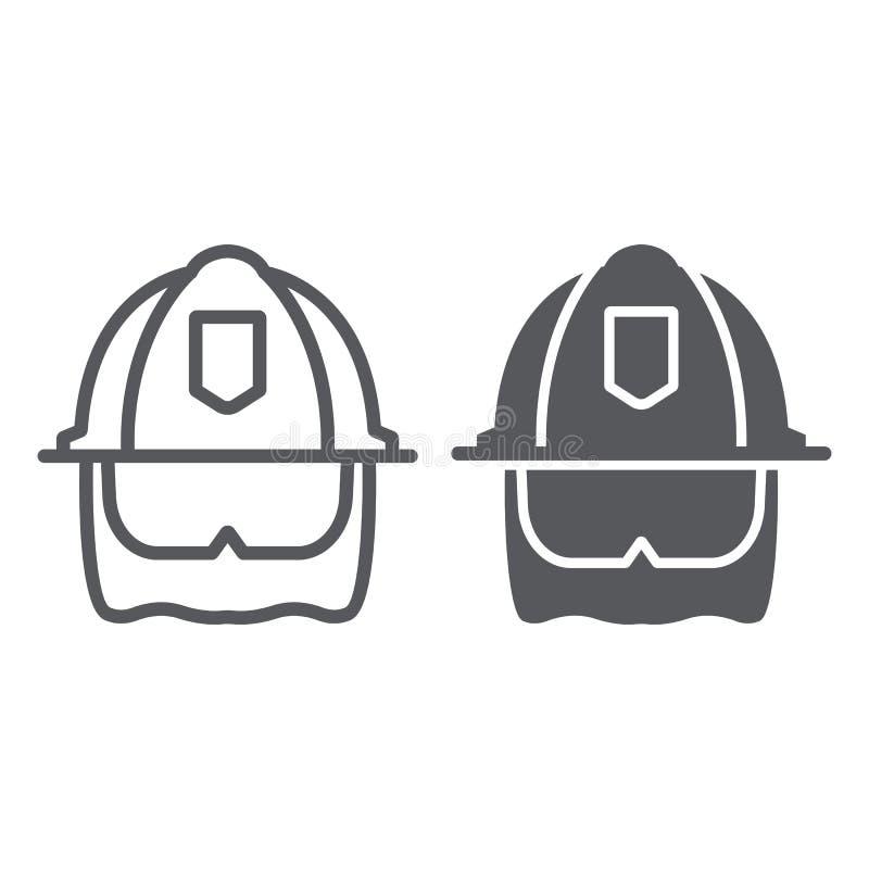 Strażaka hełma linia, glif ikona, wyposażenie i ogień, kierowniczej ochrony znak, wektorowe grafika, liniowy wzór na a ilustracja wektor