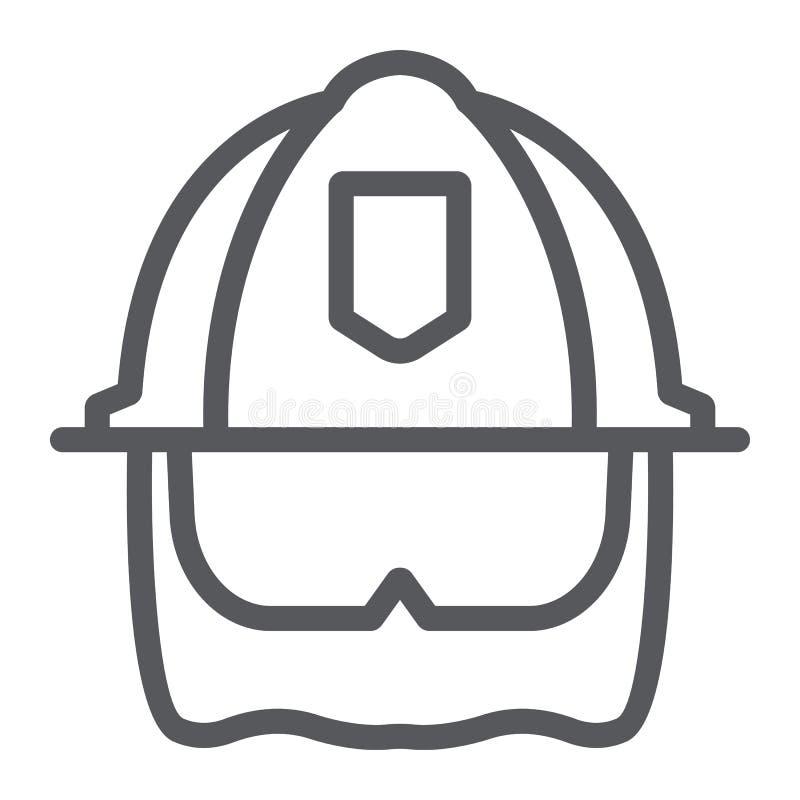 Strażaka hełma linii ikona, wyposażenie i ogień, kierowniczej ochrony znak, wektorowe grafika, liniowy wzór na bielu royalty ilustracja