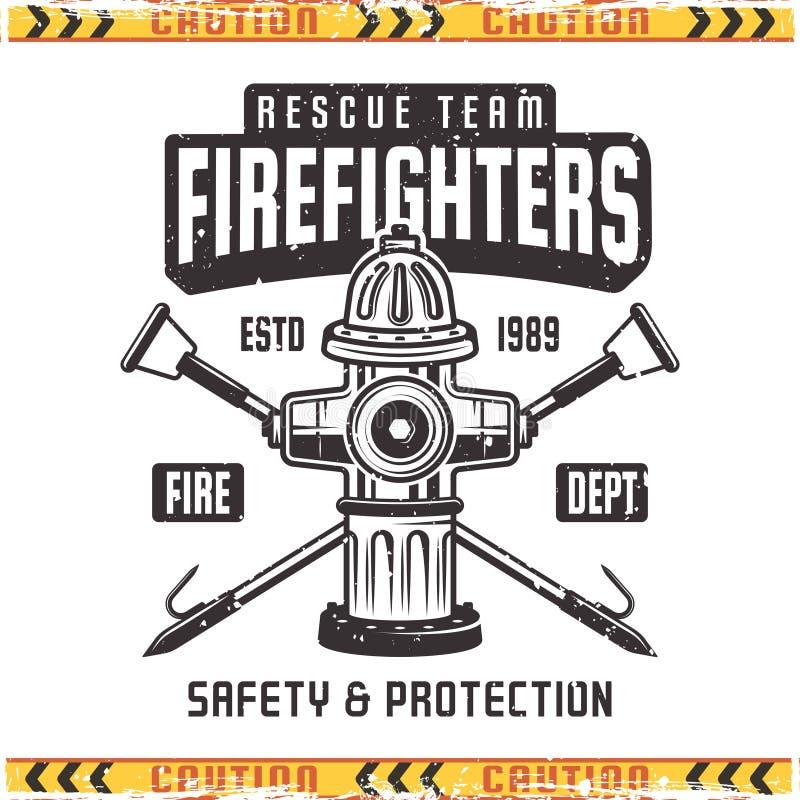 Strażaka wektorowy retro emblemat z pożarniczym hydrantem ilustracji