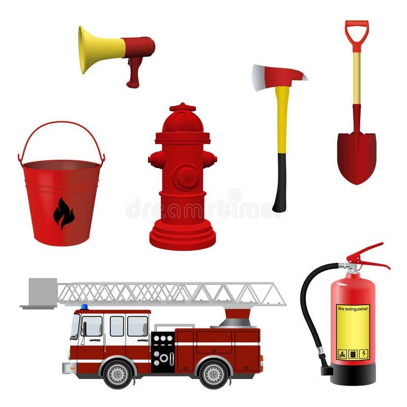 Strażaka wyposażenia set ilustracja wektor