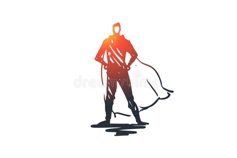 Strażnik, ochrona, policja, policjant, zbawczy pojęcie Ręka rysujący odosobniony wektor ilustracja wektor