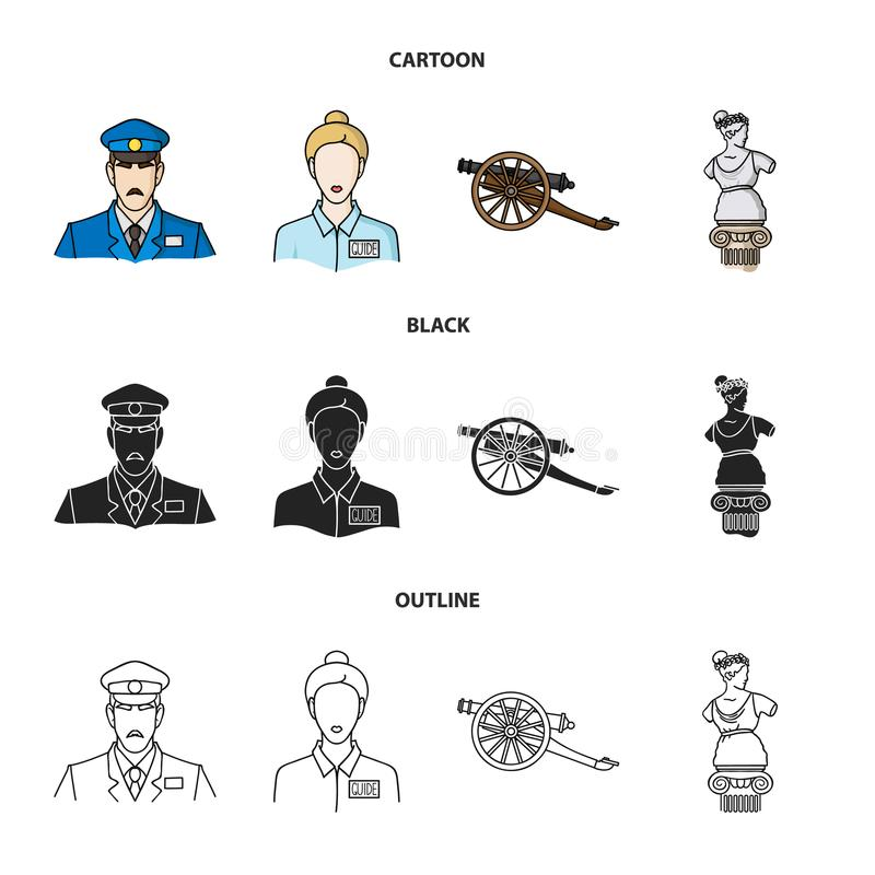 Strażnik, przewdonik, statua, pistolet Muzeum ustalone inkasowe ikony w kreskówce, czerń, konturu symbolu zapasu stylowa wektorow royalty ilustracja