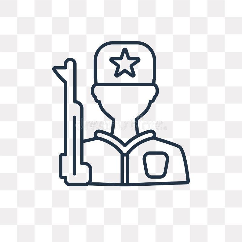 Strażowa wektorowa ikona na przejrzystym tle, liniowy Gua royalty ilustracja