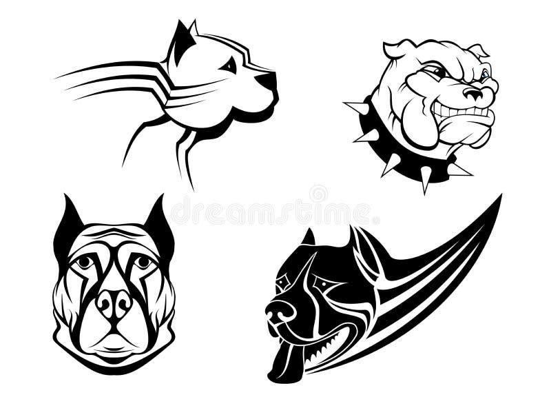 Strażowi potężni psy ustawiający royalty ilustracja