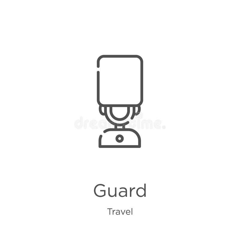 strażowy ikona wektor od podróży kolekcji Cienka linia strażnika konturu ikony wektoru ilustracja Kontur, cienka linia strażnika  ilustracji