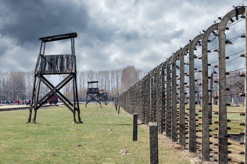 Strażowy wierza w koncentracyjnym obozie Auschwitz Birkenau, Polska obraz royalty free