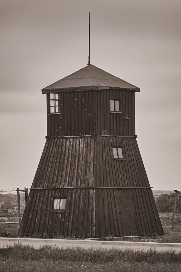 Strażowy wierza w poprzednim koncentracyjnym obozie Majdanek obraz royalty free