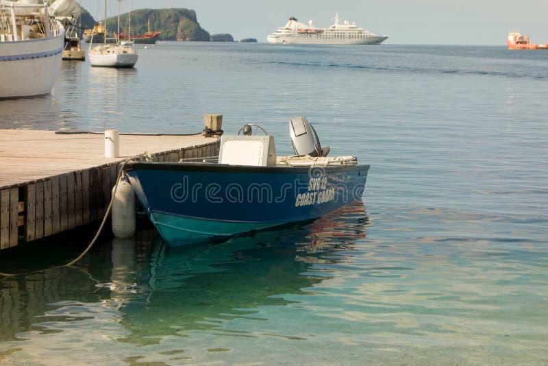 Straży przybrzeżnej łódź przy turystycznym jetty przy portowym Elizabeth obraz royalty free