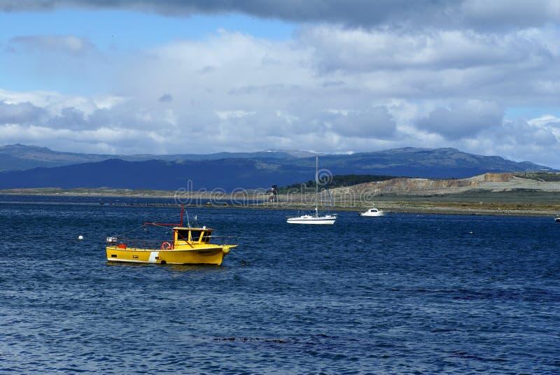 Straży przybrzeżnej łódź w Ushuaia schronieniu zdjęcia stock