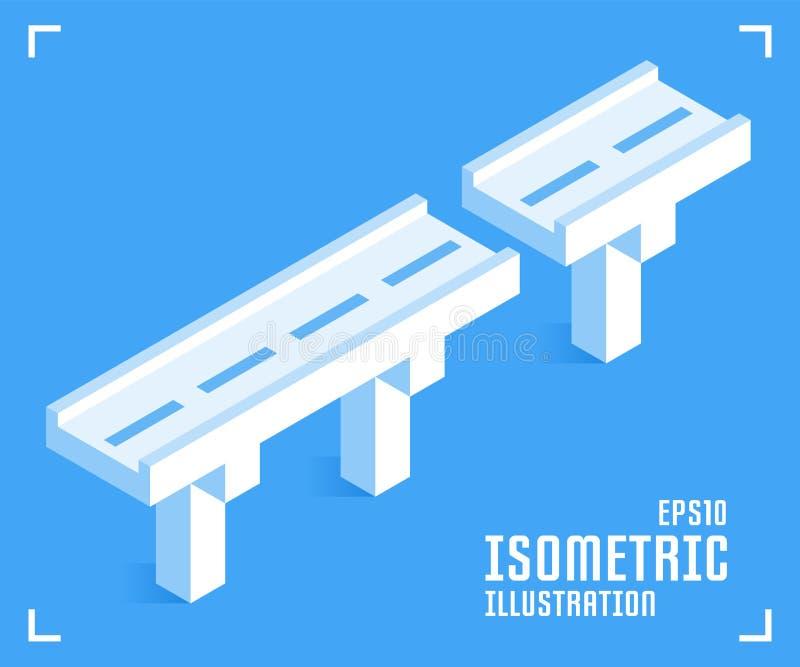 Stra?enbr?ckenikone Vektorillustration in der flachen isometrischen Art 3D lizenzfreie abbildung
