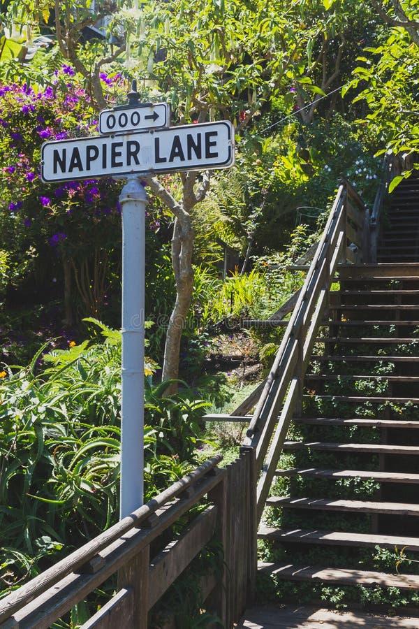 Stra?enschild von Napier-Weg stockbilder