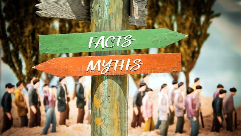 Stra?enschild zu den Tatsachen gegen Mythen lizenzfreies stockbild