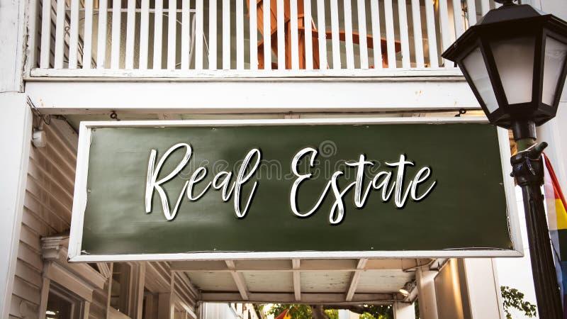 Stra?enschild zu Real Estate lizenzfreie stockbilder