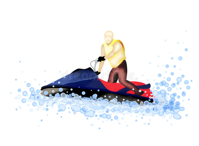 Straal Boot: Personenvervoer een StraalSki op het Water royalty-vrije illustratie