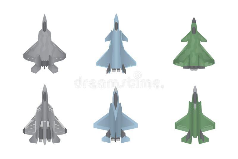 Straal de oorlogvoerings vastgestelde inzameling van vechtersvliegtuigen met diverse vorm en type - vector illustratie