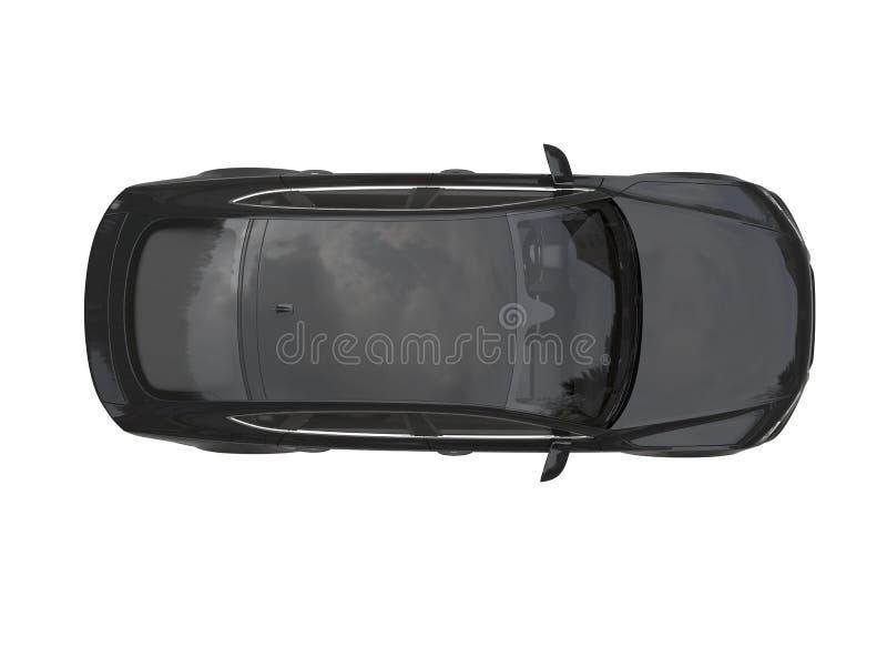 Straal zwarte moderne generische bedrijfsauto - hoogste mening stock illustratie