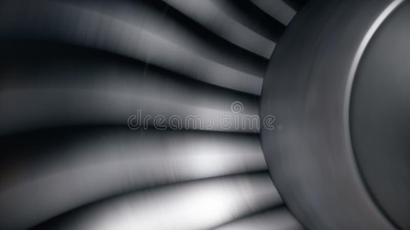 Straalmotor, de bladen van de close-upmening Straalmotor in motie Een deel van het vliegtuig 3D Illustratie vector illustratie
