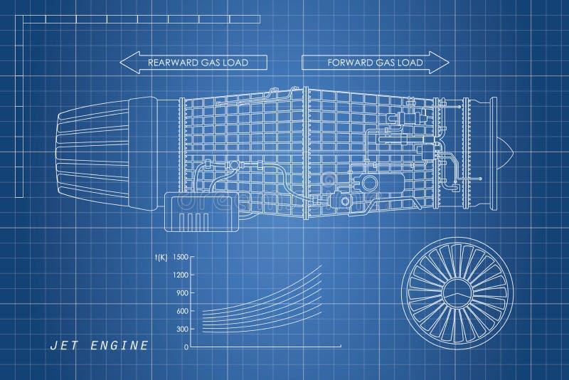 Straalmotor in een overzichtsstijl Industriële vectorblauwdruk deel stock illustratie