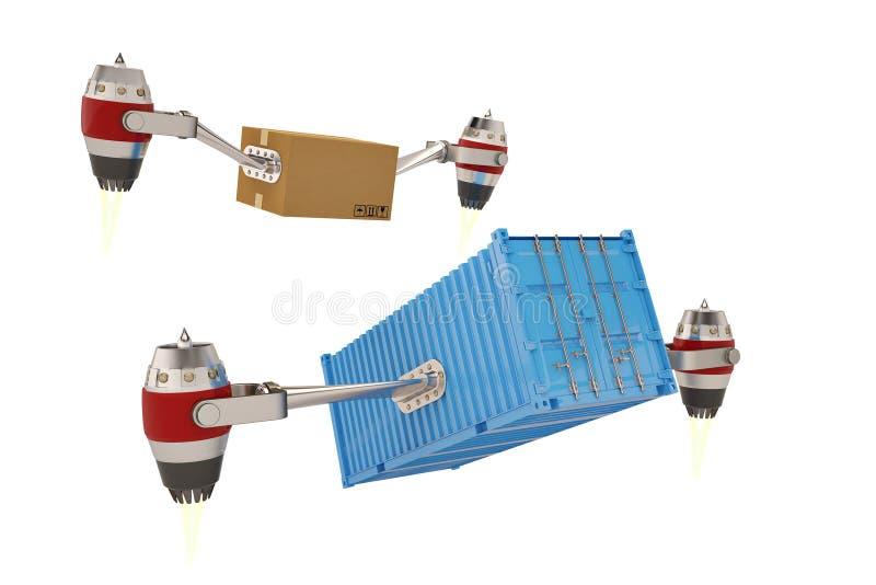 Straalmotor met karton en containers op een witte achtergrond 3D I royalty-vrije illustratie