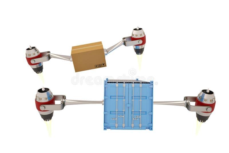 Straalmotor met karton en containers op een witte achtergrond 3D I stock illustratie