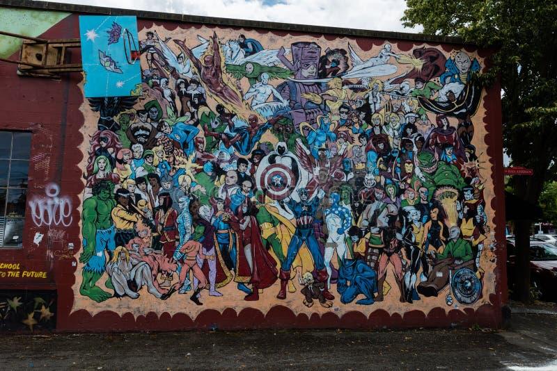 Straat Art Superheroes royalty-vrije stock fotografie