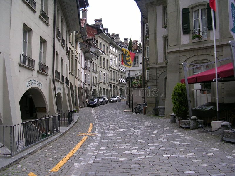 Straat in Bern, Zwitserland stock fotografie