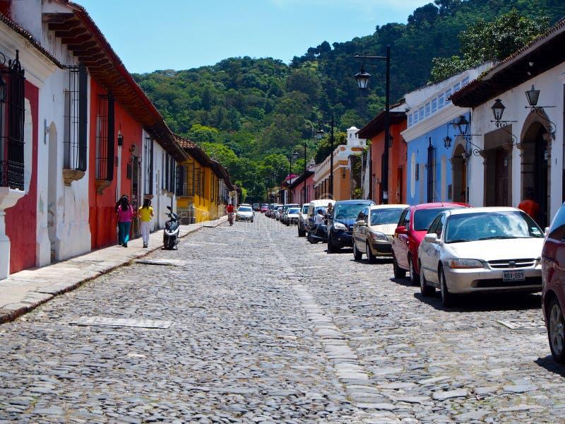 Straat bij Antigua stock fotografie