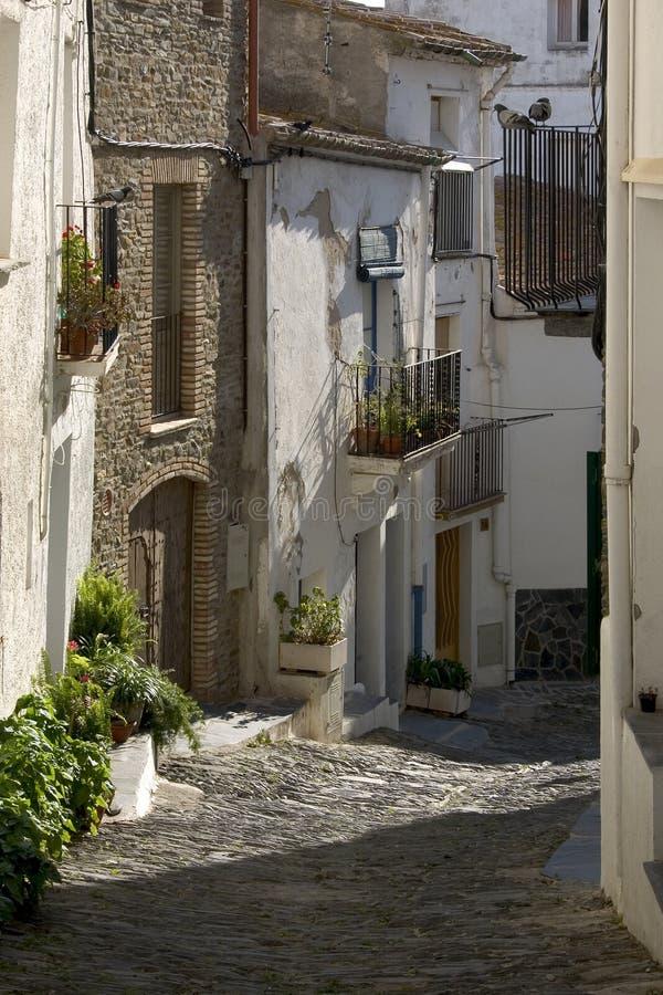 Straat in Cadaques, Catalonië royalty-vrije stock foto