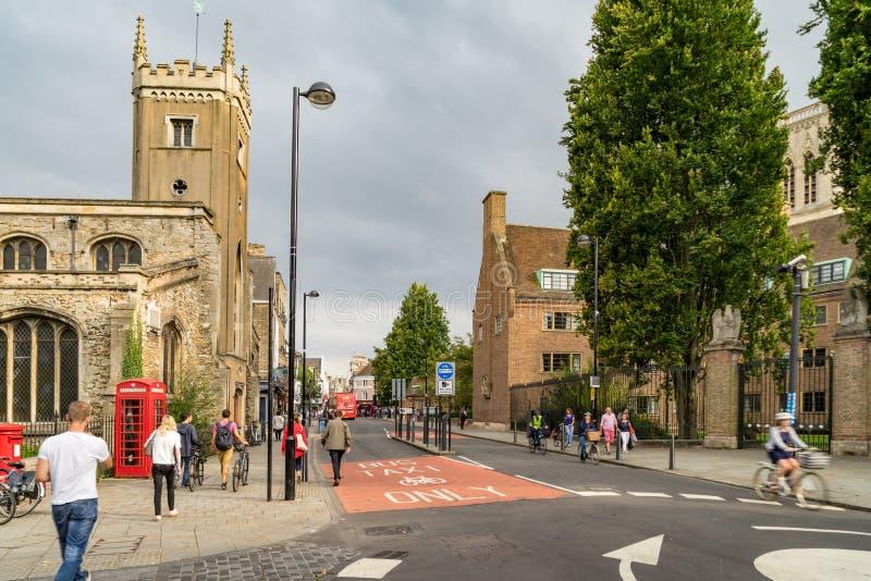 Straat in Cambridge, het UK stock afbeelding
