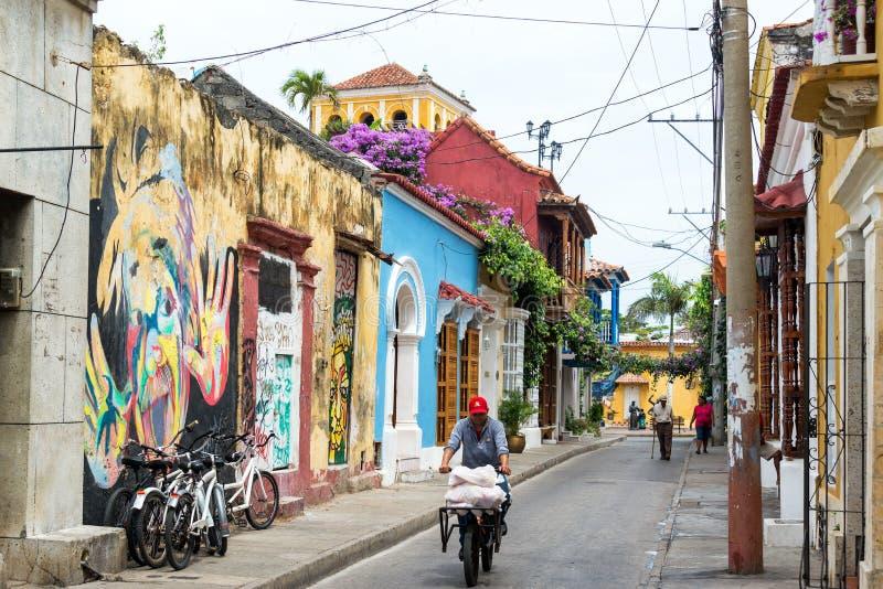 Straat in Cartagena, Colombia royalty-vrije stock afbeelding