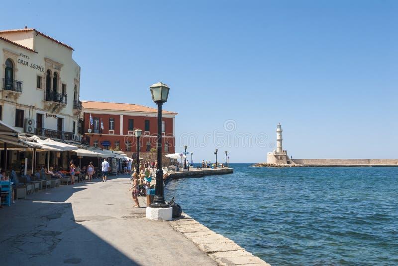Straat in Chania-haven royalty-vrije stock afbeeldingen