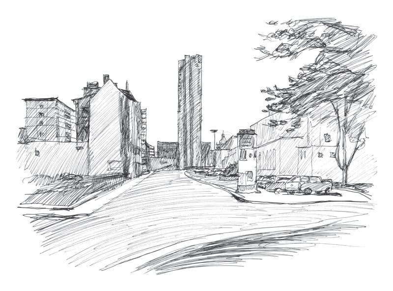 Straat in Chemnitz Karl-Marx-Stadt Hand-drawn schets lineair stock illustratie