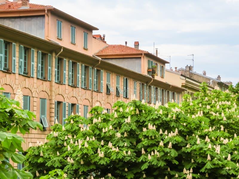 Straat in de Oude Stad Nice Kooi D ` Azur, Nice, Frankrijk stock foto