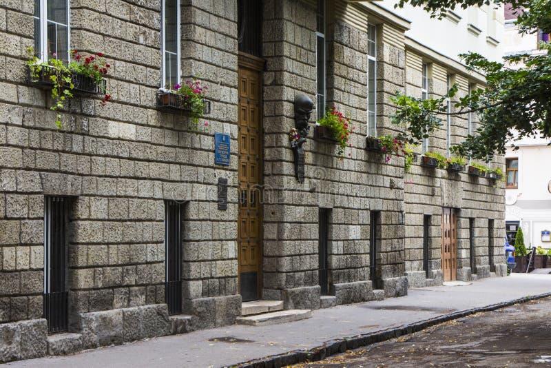 Straat in de Oude Stad van Uzhhorod ukraine stock foto's