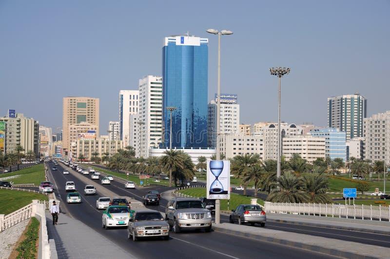 Straat in de Stad van Sharjah stock afbeelding